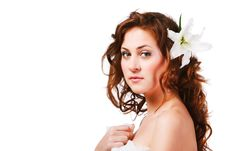 Free Charming Young Girl With A Flower Royalty Free Stock Images - 16231409