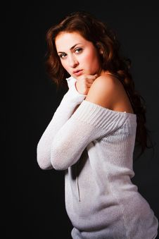 Free Attractive Young Brunette In Sweater Stock Photos - 16231413