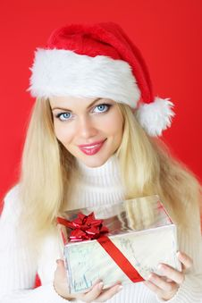 Free Girl Holding A Gift Stock Images - 16231424