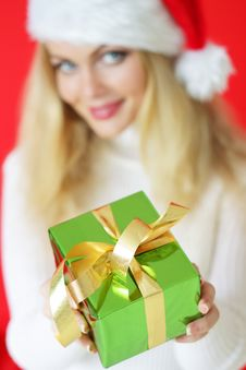 Girl Holding A Gift Royalty Free Stock Photography
