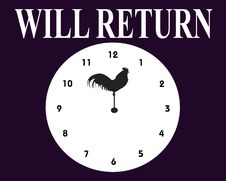 Free WILL RETURN SIGN Royalty Free Stock Photo - 16231715