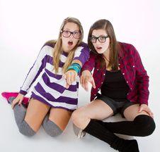 Free Stunned Stylish Teenagers Stock Photo - 16233040