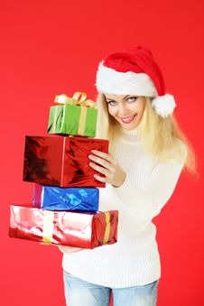 Free Santa Girl With Presents Stock Image - 16235201