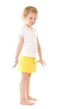 Free Fretful Little Girl Standing On White Background Stock Image - 16235421