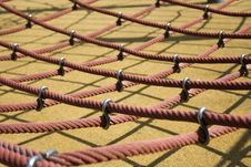 Big Red Ropes In A Playground, For Children Royalty Free Stock Photos