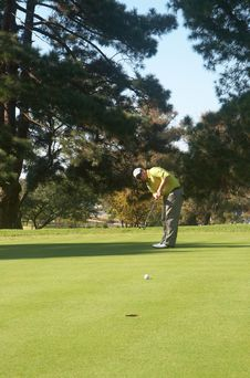 Free Golfer On The Putting Green Stock Images - 16236394