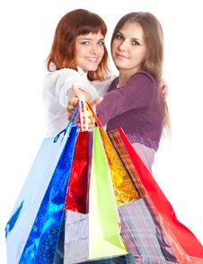 Free Two Teen Girls With Bags Stock Photography - 16237362