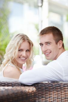Free The Happy Couple In A Restaurant Stock Image - 16237781