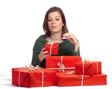 Free Women Unwarp Gift Box Royalty Free Stock Photo - 16237855