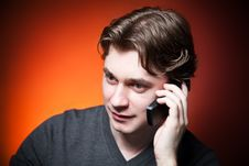 Free Young Man On Cellphone Royalty Free Stock Photography - 16237927