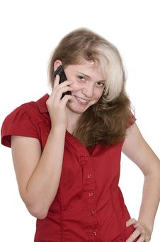 Beautiful Young Girl In Red With A Mobile Phone Stock Images