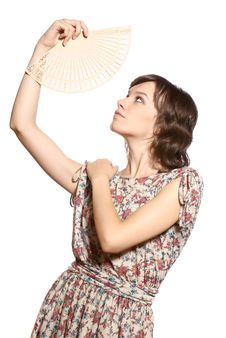 Woman With Fan Royalty Free Stock Image