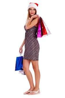 Free Pretty Woman Holding Colors Shopping Bags Stock Photos - 16239003