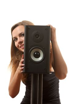 A Girl And A Speaker Stock Images