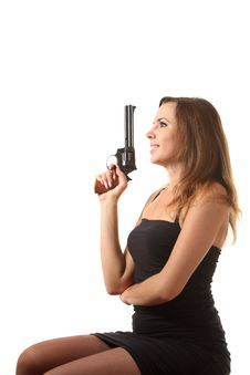 Free Girl Is Aiming A Revolver Royalty Free Stock Image - 16239446