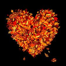 Free I Love Autumn! Heart Shape From Falling Leaves Royalty Free Stock Photos - 16239708
