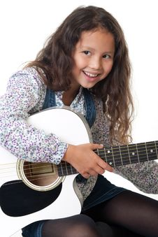 Free Girl Plays The Guitar Stock Photo - 16239740