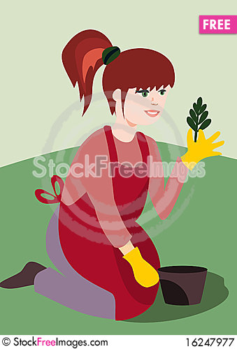 Free Girl With A Plant Royalty Free Stock Photography - 16247977