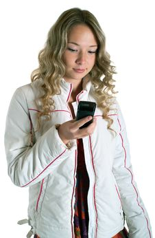 Free Girl In White Jacket With Cellular Stock Photography - 16240692