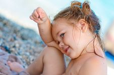 Free Cute Toddler Girl On Sea Background Stock Photos - 16240843