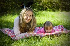 A Little Girl With Her Mother Royalty Free Stock Photo