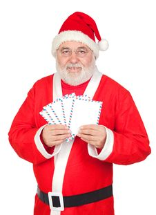 Free Santa Claus With Envelopes For Sending Letters Stock Photography - 16241842