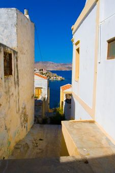 View To Houses And To The Sea Stock Photo