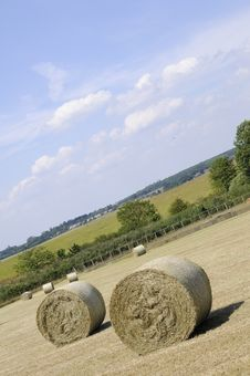 Closeup With Hay Bales Royalty Free Stock Photography