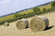 Hay Bales Waiting On Fields Stock Photos