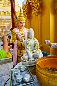 White Jade Of Buddha Image And Gold Buddha Image Royalty Free Stock Images