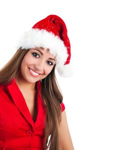 Attractive Women In Santa Claus Hat Stock Image
