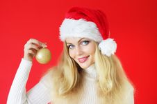 Free Girl Holding A Christmas Ball Stock Image - 16245781