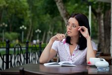 Free Girl With Notepad In Cafe Stock Images - 16245824