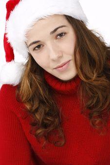 Free Beautiful Young Woman Wearing Santa Hat Stock Photography - 16247142