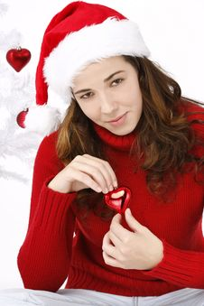 Free Beautiful Young Woman Wearing Santa Hat Stock Images - 16247144
