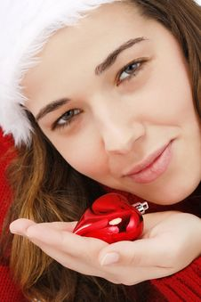 Free Beautiful Young Woman Wearing Santa Hat Royalty Free Stock Images - 16247159