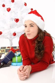 Free Beautiful Young Woman Wearing Santa Hat Stock Image - 16247281