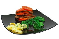 Roast Beef On A Plate Stock Photos
