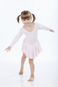 Happy Little Ballerina Dancing Stock Images