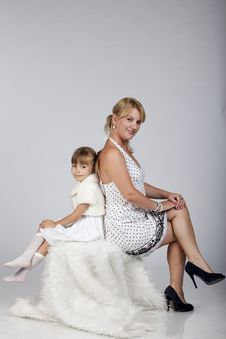 Young Sexy Mother With Her Little Daughter Posing Royalty Free Stock Photos