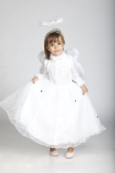 Free Adorable Girl In Angel Outfit With Wings And H Royalty Free Stock Photo - 16248905
