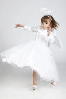 Cute Little Girl Dressed As An Angel Ready To Fly
