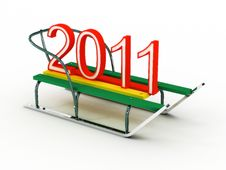 Free Sled With The Numbers 2011. 3D Royalty Free Stock Photography - 16249817