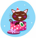 Free Brown Christmas Cat In Pink Gift Box Royalty Free Stock Image - 16253326