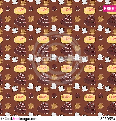 Free Seamless Backgrouns With Coffee And Cakes Stock Images - 16250594