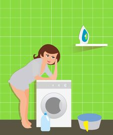 Free Housewife In The Laundry Stock Photo - 16251320