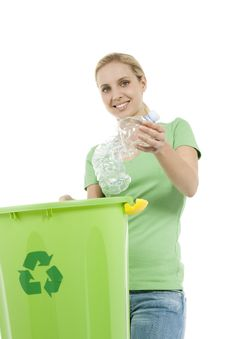 Young Woman Recycling Royalty Free Stock Image