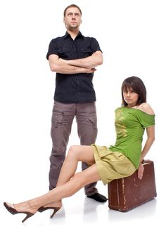 Free A Married Couple With A Suitcase Royalty Free Stock Images - 16252559