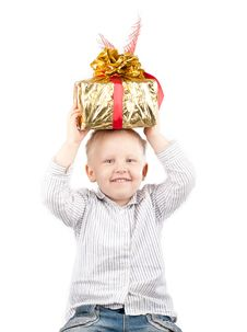 Free Boy With Gift Stock Image - 16252931