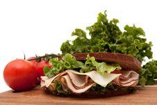 Turkey Sandwich On Rye Bread Stock Image